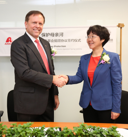 Axalta Chairman and CEO, Charlie Shaver, and Yao Wen, Deputy Secretary General of the China Youth De ...