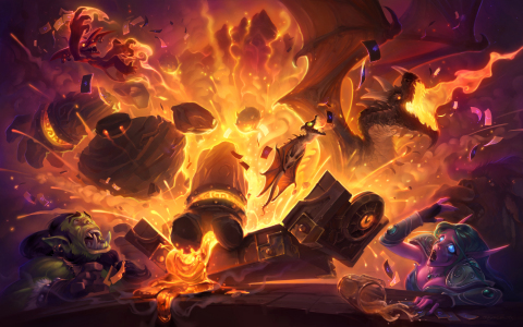 A new magma-filled Adventure, Blackrock Mountain, is coming to Hearthstone: Heroes of Warcraft in April. (Graphic: Business Wire)