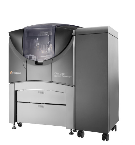 The Objet260 Dental Selection 3D Printer introduces advanced triple-jetting technology to dental labs for superior throughput and model realism. (Photo: Stratasys)