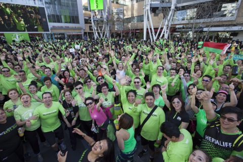 Nearly 4,000 people filled the Nokia Plaza in downtown Los Angeles as they secured a GUINNESS World  ...