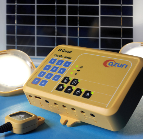 Azuri's Quad paygo solar system provides home lighting and mobile charging. The HomeSmart feature optimises output according to the user's energy usage patterns. (Photo: Business Wire)