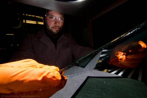 Dr. Scott Hammond, Principal Scientist, SolarWindow Technologies, Inc., Setting Up for SolarWindow(TM) Mini-Module Performance Measurement (Photo: Business Wire)