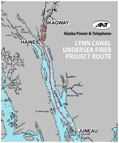 Shown in red is the planned deployment route of AP&T's 2015 Marine Fiber Optic Cable Project in Alaska's Upper Lynn Canal. (Graphic: Business Wire)