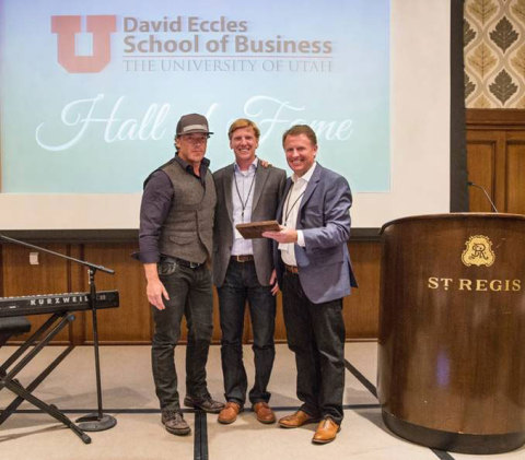 Todd Pedersen, CEO and founder of Vivint, was inducted into the David Eccles School of Business Hall of Fame at a ceremony on Friday, March 6 at the St. Regis Deer Valley in Park City, Utah. Pedersen becomes the 30th member of the prestigious group at the University of Utah. (Pictured L to R: Todd Pedersen, Christian Gardner, CEO of Gardner Company and trustee of the University of Utah Board of Trustees; Taylor Randall, dean, David Eccles School of Business.) (Photo: Business Wire)