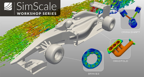 SimScale is offering a free five-week online workshop series for simulation, design and testing of a Formula One race car. (Graphic: Business Wire)
