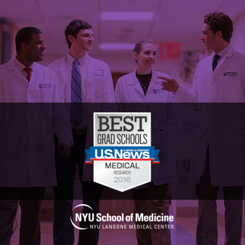 "NYU School of Medicine is Top-15 in the Nation & #2 in New York on U.S. News & World Report's 2016 ""Best Graduate Schools"" Rankings (Graphic: Business Wire)"