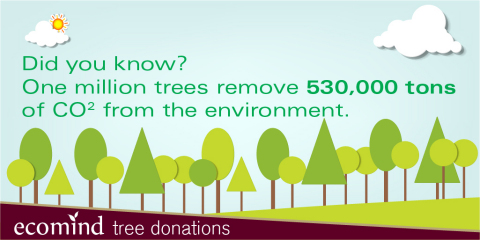 One million trees remove 530,000 tons of CO2 from the environment. (Graphic: Business Wire)