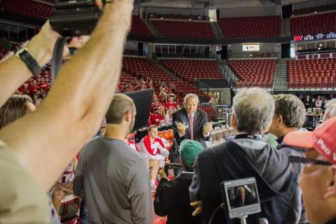 Bo Ryan acts stressed in the Kohl Center while shooting the new ad for the Wisconsin Department of Tourism. (Photo: Business Wire)