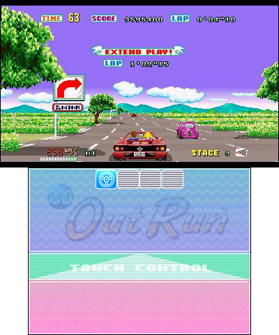3D Out Run is the much-loved 1986 driving game designed by Yu Suzuki, remastered and enhanced for the Nintendo 3DS family of systems. (Photo: Business Wire)