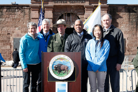 NEW YORK, NY - MARCH 12: (L-R) U.S. Secretary of the Interior Sally Jewell, Tim McClimon, President of the American Express Foundation, Park Ranger Daniel Prebutt, Mitchell J. Silver, Commissioner of the NYC Department of Parks and Recreation, Jane Chan, 21st Century Conservation Service Corp Member, and Neil Nicoll, President Emeritus of the YMCA of the USA attend American Express' announcement of a 5 million dollar grant to increase volunteering in America's National Parks at Castle Clinton National Monument, Battery Park on March 12, 2015 in New York City.  (Photo by Thos Robinson/Getty Images for American Express)