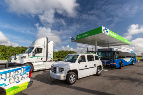 Natural gas vehicles at Clean Energy natural gas fueling station at 6155 Cargo Road, Orlando, FL. (Photo: Business Wire)