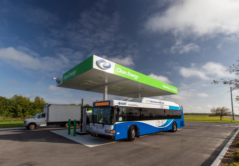 Natural gas transit bus and box truck fueling at Clean Energy natural gas fueling station at 6155 Cargo Road, Orlando, FL. (Photo: Business Wire)