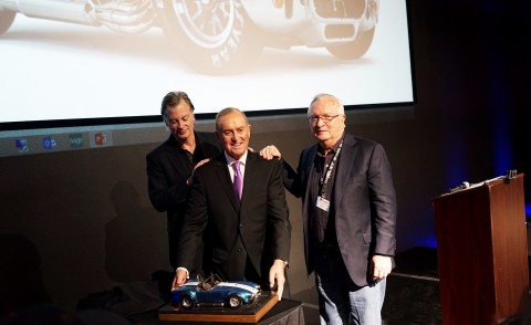 Bob Bondurant (middle) accepting Carroll Shelby Spirit Award (Photo: Business Wire)