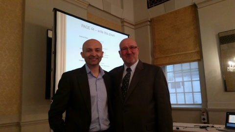 Dr Rohan Weersinghe (L), Building Wealth speaker and trainer, and Anthony C Humpage, LEAI CEO, at Building Wealth training at the Bloomsbury Hotel, London, March 13, 2015. (Photo: Business Wire)