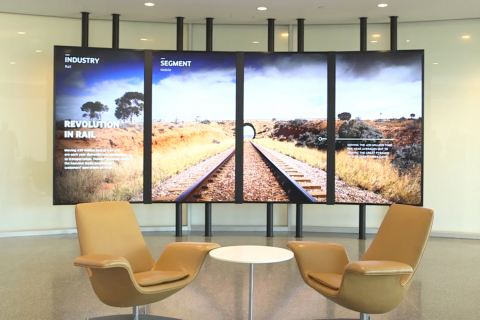The Timken Company's dynamic lobby display supplies an updated information flow in the Canton, Ohio World Headquarters. (Photo: Business Wire)