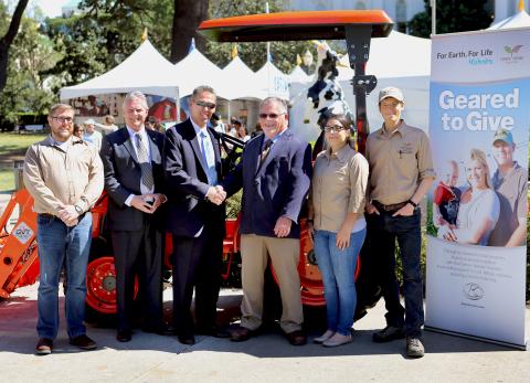 From left to right:  Jonah Johnson, Farmer Veteran Coalition; Buck Trawick, Kubota marketing directo ...