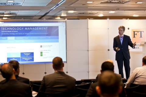 Dr. Arthur Langer, Academic Director and Faculty member of the Executive Masters in Technology Management at Columbia University, leading a presentation at the Columbia CTM event in London