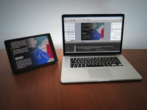 Die intuitive Designumgebung der Purple Publishing Suite und das Ergebnis auf dem iPad (Photo: Busin ...
