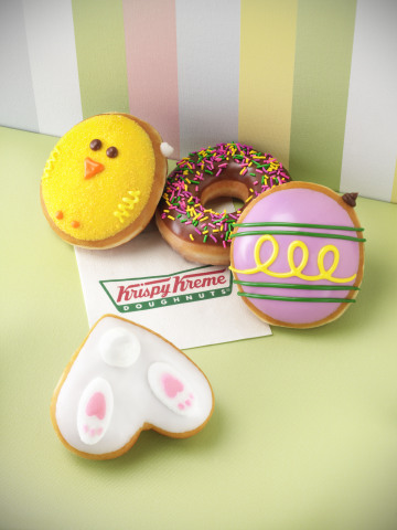 Spring is in full swing at Krispy Kreme! Krispy Kreme's newest assortment of seasonal treats is just what you need to feed your spring fever. Krispy Kreme Chick doughnuts, Egg doughnuts and Chocolate Iced with Spring Sprinkles doughnuts are available now through April 5, 2015 at participating Krispy Kreme US and Canadian locations. (Photo: Business Wire)