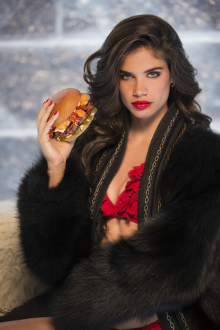 Model Sara Sampaio stars in a spicy new ad campaign for the Thickburger El Diablo from Carl's Jr. and Hardee's. (Photo: Petr Dobias and CKE Restaurants.)