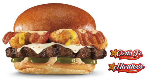 Available at Hardee's 3/23 and at Carl's Jr. 3/25, Thickburgers El Diablo feature four sources of fiery flavor: sliced jalapenos, crunchy Jalapeno Poppers®, spicy habanero bacon sauce and pepper-Jack cheese, piled on top of a 100 percent Black Angus beef Thickburger along with crispy bacon, all served on a Fresh Baked Bun. (Photo: Business Wire)