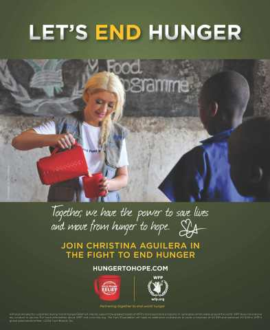 UN World Food Programme Ambassador Against Hunger, Multi-Grammy Award winner and international superstar Christina Aguilera has served as a volunteer spokesperson for Yum! Brands' World Hunger Relief effort since 2009 and has helped to raise millions for WFP and other hunger relief agencies. Yum! Brands' World Hunger Relief effort is the world's largest private sector hunger relief initiative, spanning more than 125 countries, over 41,000 KFC, Pizza Hut and Taco Bell restaurants and 1.5 million associates which raises awareness, volunteerism and funds for WFP and other hunger relief agencies. Since 2007, World Hunger Relief has raised $600 million in cash and food donations, providing 2.4 billion nutritious meals for women and children around the globe. (Graphic: Business Wire)