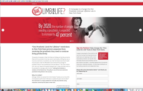 www.onelimbforlife.com online petition (Graphic: Business Wire)