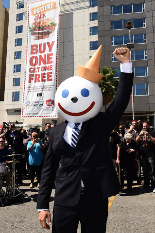 Fast food icon Jack, of Jack in the Box, makes a rare public appearance to celebrate capturing the Guinness World Records title for the world's Largest coupon. Fans can get their own Buttery Jack burgers at their local Jack in the Box by sharing shots of the #WorldsLargestCoupon. (Photo: Business Wire)
