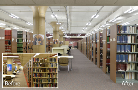 Duquesne University increases the energy efficiency and lighting performance at its Gumberg Library with Eaton's LED lighting. (Photo: Business Wire)