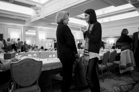"""""""Downton Abbey,"""" Season 6 read through. Shown from left to right: Maggie Smith (Violet, Dowager Countess of Grantham) and Michelle Dockery (Lady Mary Crawley). Photo credit: (C)Nick Briggs/Carnival Film & Television. Limited 2015 for MASTERPIECE"""