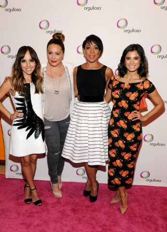 """Style Expert and TV Personality, Lilliana Vazquez, Radio Personality Angie Martinez, Actress Selenis Leyva and Actress Diane Guerrero, from left to right, attend P&G Orgullosa's forum """"Nueva Latinas Living Fabulosa"""" at The TimesCenter on Wednesday, March 25 in New York. The all-star lineup of speakers shared their passion and stories of rich history, blended cultures and aspirations. Visit Facebook.com/Orgullosa for more information. (Photo by Diane Bondareff/Invision for P&G Orgullosa/AP Images)"""