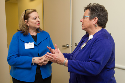 Bernadette Di Re, CEO, UnitedHealthcare Community Plan of Massachusetts (left), talks to Adela Margules, executive director, Bowdoin Street Health Center, at a lunch at Bowdoin Street to recognize UnitedHealthcare's Community Grants Program recipients. UnitedHealthcare donated $130,000 to 24 community health organizations to support access to primary care and other support services for Massachusetts residents. UnitedHealthcare's Community Grants Program helps community-based organizations get the funds they need to continue their important work, and offers free expert guidance to help the organizations make their funding efforts more effective (Photo: Matt Healey).