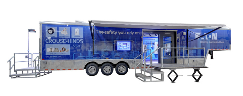 Eaton's 40-foot mobile trailer consists of roll-out displays and demo areas for hands-on training bo ...