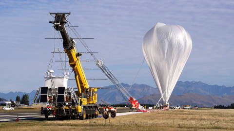 A NASA Super Pressure Balloon in the final moments leading up to launch from Wanaka, New Zealand. Ph ...