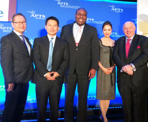 "From left to right: Mr. Tsuruo Mochizuki, deputy head, NHK WORLD; Mr. Sho Beppu, co-anchor, ""NEWSROOM TOKYO""; Mr. James Muhammad, CEO, Lakeshore Public Media; Ms. Aki Shibuya, co-anchor, ""NEWSROOM TOKYO""; Mr. Jay Campbell, president CAV International, NHK USA representative(Photo: Business Wire)"
