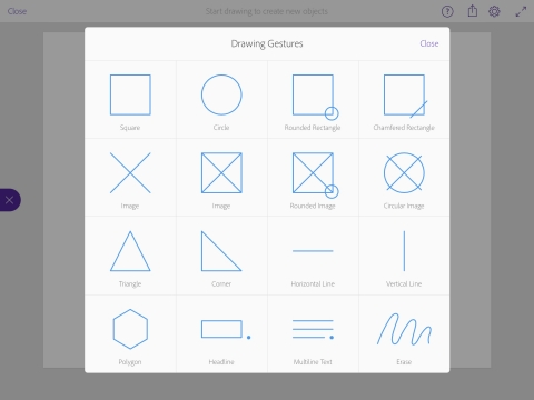 Natural Drawing Gestures: Comp CC uses simple drawing gestures to allow users to intuitively layout shapes, and add text and images. (Graphic: Business Wire)