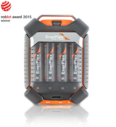 The Red Dot Award Winning Jumpr Quad AA & AAA Battery Charger and Powerbank (Photo: Business Wire)
