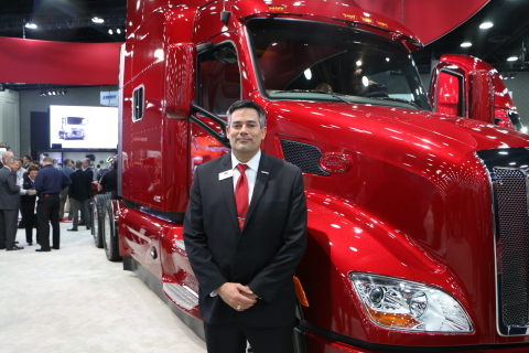Anthony Gansle, Peterbilt Marketing Manager with Peterbilt Truck Model 579 painted with Axalta's Imr ...