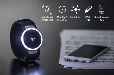 The first wearable device designed specifically for musicians, the Soundbrenner Pulse helps musicians feel the beat and become better performers. (Photo: Business Wire)