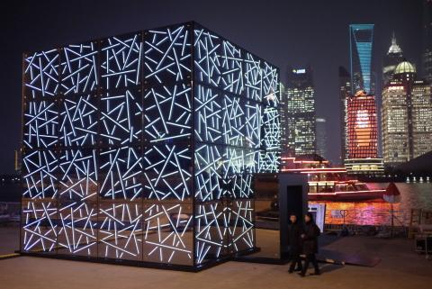 """Future Sensations"" lit up Shanghai, China in January; visitors tour the LOOK Pavilion. (Photo: Saint-Gobain)"