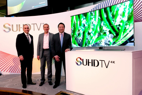 Dave Das, Senior Vice President of Samsung Electronics America and Hanno Basse, Chief Technology Officer, Twentieth Century Fox and Chairman of the Board, UHD Alliance together with Bill Lee, Vice President of Samsung Electronics America introduced Samsung's Curved SUHD TVs at the Rainbow Room in NYC. (Photo: Business Wire)