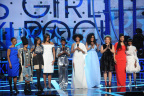 "(L-R) Dr. Helene Gayle, Erykah Badu, Nadia Lopez, Michelle Obama, Regina King, Tracee Ellis Ross, Beverly Bond, Debra Lee, Ava DuVernay, and Cicely Tyson pose onstage during ""Black Girls Rock!"" 2015 at New Jersey Performing Arts Center on March 28, 2015 in Newark, NJ. (Photo by Bennett Raglin/BET/Getty Images for BET)"