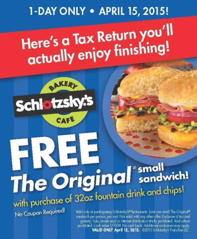 On Tax Day, participating Schlotzsky's restaurants nationwide will give away one free small The Original(R) sandwich with the purchase of a 32 oz. drink and a bag of chips. (Graphic: Business Wire)