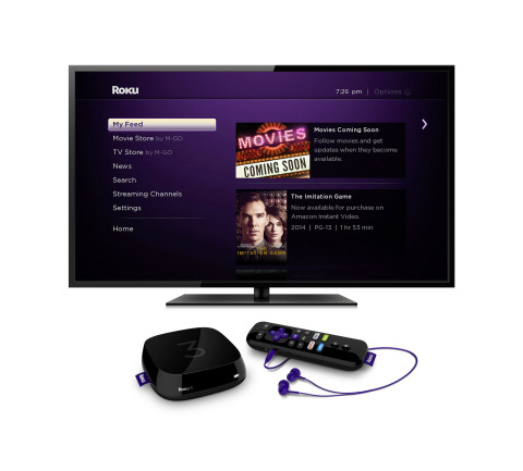 The Roku home screen featuring Movies Coming Soon and new Roku 3 player with voice search (Photo: Business Wire)