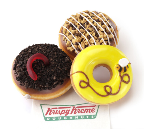 The new OREO® Dirt Cake Doughnuts, S'mores Doughnuts and Honey Bee Doughnuts are available now through May 17, 2015 at participating Krispy Kreme® US locations. (Photo: Business Wire)