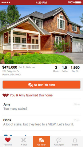Redfin Shared Search enables people who are buying a house together to share and comment on their favorite homes. (Business Wire: Graphic)