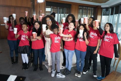 Oprah Winfrey and Girls Inc. raise cups of Teavana(R) Oprah Cinnamon Chai to celebrate $5 million rais
