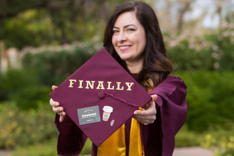 Starbucks shift supervisor and 14-year partner Kaede Clifford became the first graduate of the Starbucks College Achievement Plan in December 2014 with a degree in Mass Communication and Media Studies. (Photo: Business Wire)