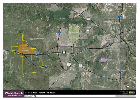 Aerial photograph of future Walsh Ranch development in Fort Worth, Texas (Photo: Business Wire)