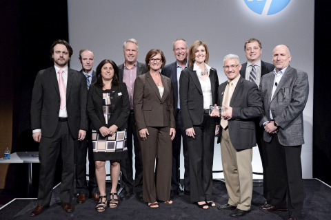 Avnet recognized with an HP PartnerOne Award for Growth Distributor of the Year Canada, HP Enterprise Group at the 2015 HP Global Partner Conference. From left to right are: Dragan Drasko (Avnet), Ron Fuller (HP), Debbie Naumus (Avnet), Roy Rivers (Avnet), Ivanka Grottoli (Avnet), Chris Champagne (HP), Michelle Bates (HP), Dave Camposarcone (Avnet), Brian Aebig (Avnet), and John Dathan (HP). (Photo: Business Wire)